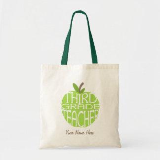 Third Grade Teacher Bag - Green Apple