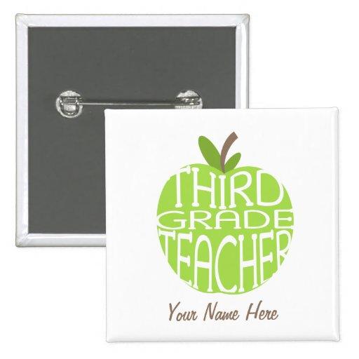 Third Grade Teacher Button - Green Apple