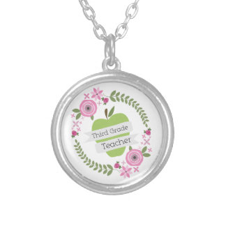 Third Grade Teacher Floral Wreath Green Apple Necklaces