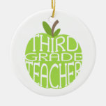 Third Grade Teacher Green Apple Ornament