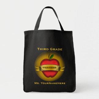 Third Grade Teacher Grocery Bag - Apple Tattoo