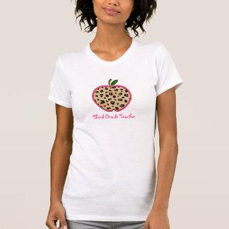 Third Grade Teacher Leopard Print Apple Tshirt