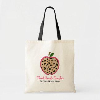 Third Grade Teacher Leopard Print & Pink Apple Budget Tote Bag