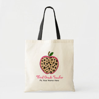Third Grade Teacher Leopard Print & Pink Apple Tote Bag