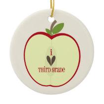 Third Grade Teacher Ornament - Red Apple Half