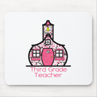 Third Grade Teacher Paint Splatter Schoolhouse Mouse Pad