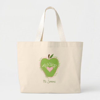 Third Grade Teacher Pink & Green Apple Large Tote Bag
