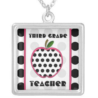 Third Grade Teacher Polka Dot Apple Pendant