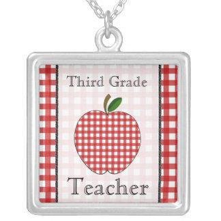 Third Grade Teacher Red Gingham Apple Necklace