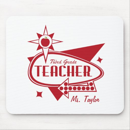 Third Grade Teacher Retro Red 60's Inspired Sign Mousepads