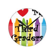 Third grade teacher round clock