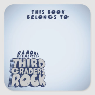 Third Graders Rock - Book Plate Square Sticker