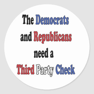 Third Party Check T-Shirt Classic Round Sticker