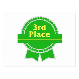 Third Place Green & Gold Ribbon Postcard