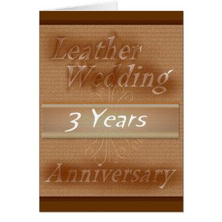 Third Wedding Anniversary ~ Leather Greeting Card