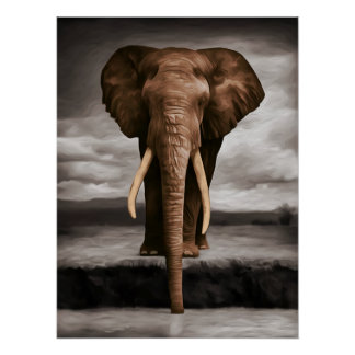 Thirsty Elephant Poster