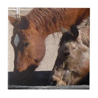Thirsty Horses Drink at the Water Trough Tile