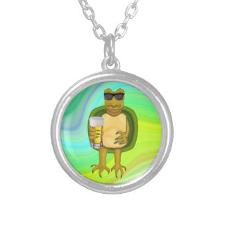 Thirsty Turtle Round Pendant Necklace
