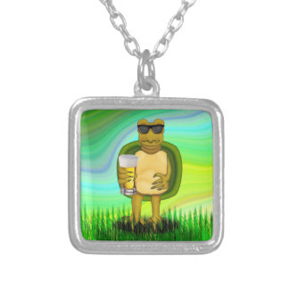 Thirsty Turtle Square Pendant Necklace