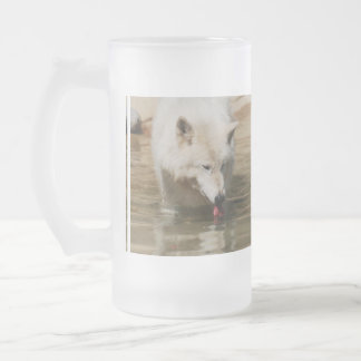 Thirsty Wolf 16 Oz Frosted Glass Beer Mug