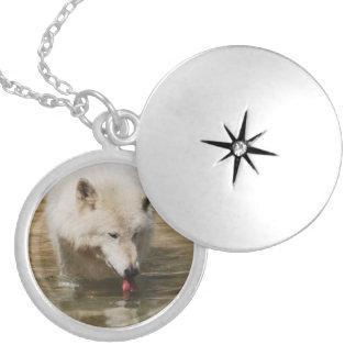 Thirsty Wolf Round Locket Necklace