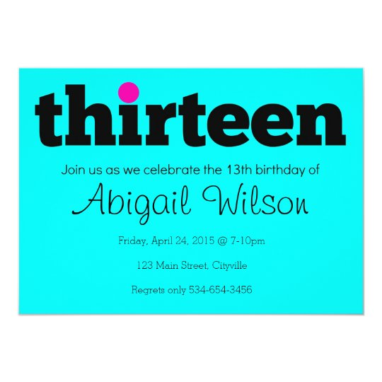 Thirteen 13th Birthday Party Invitation