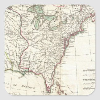 Thirteen Colonies Vintage Map (1776) Square Sticker