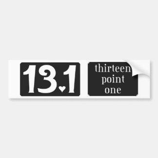 thirteen point one car bumper sticker