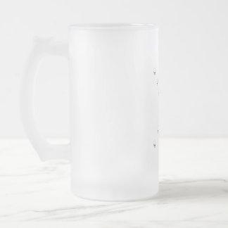 Thirteen Skulls Eerie Orange Sunburst Cross Frosted Glass Beer Mug