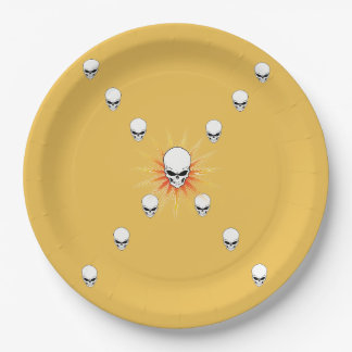 Thirteen Skulls Eerie Orange Sunburst Cross Paper Plate