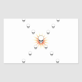 Thirteen Skulls Eerie Orange Sunburst Cross Rectangular Sticker