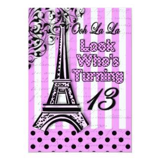 Thirteenth Birthday - Invite - French/Eiffel Tower Personalized Invite