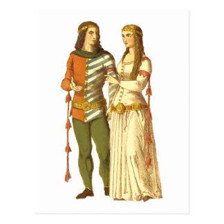 Thirteenth Century Couple Postcard