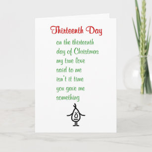 thirteenth day a funny christmas poem holiday card