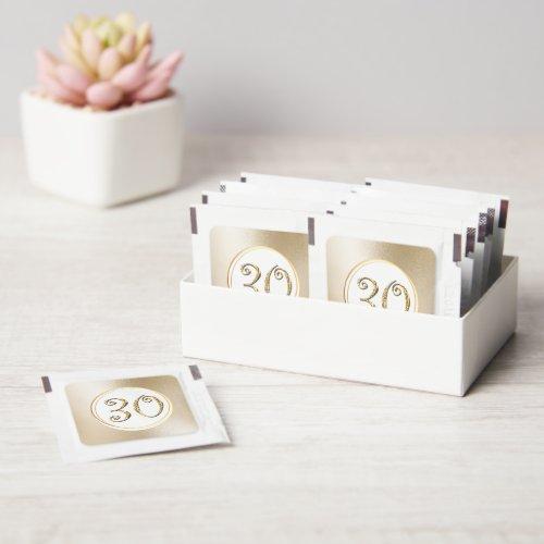 Thirtieth birthday gold numeral elegant foil look hand sanitizer packet