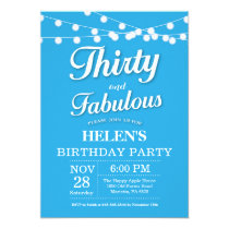 Thirty and Fabulous Birthday Invitation Blue