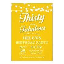 Thirty and Fabulous Birthday Invitation Yellow