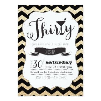 Thirty Black & Gold Chevron Birthday Invite