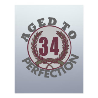 Thirty Four and aged to Perfection Birthday Full Color Flyer