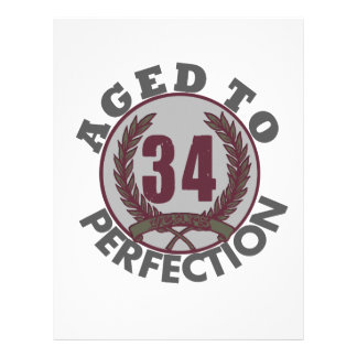Thirty Four and aged to Perfection Birthday Custom Letterhead