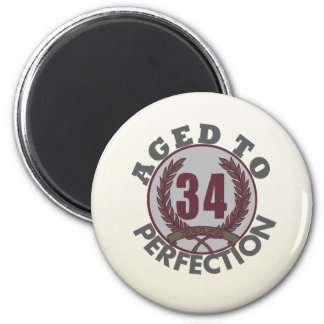 Thirty Four and aged to Perfection Birthday Refrigerator Magnet