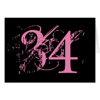 Thirty-four is big deal, big pink text on black. card
