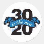 Thirty is the New Twenty - Blue Round Sticker