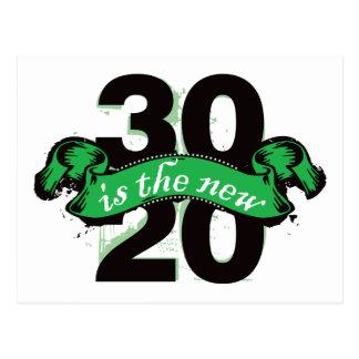 Thirty is the New Twenty - Green Postcard