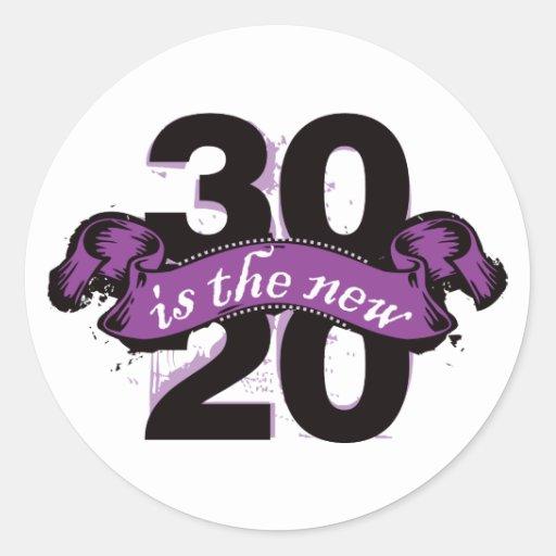 Thirty is the New Twenty - Purple Classic Round Sticker
