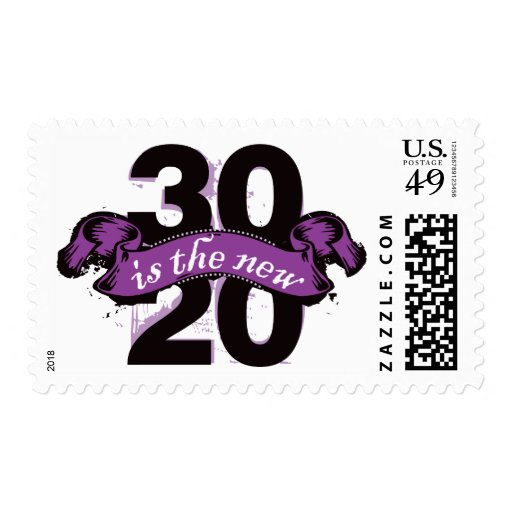 Thirty is the New Twenty - Purple Postage Stamps