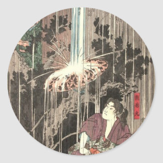Thirty-six Famous Battles by Utagawa Kuniyoshi Classic Round Sticker