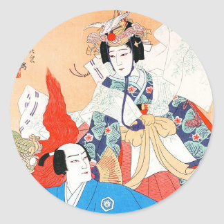 Thirty-six Kabuki Actors Portraits - Two Dancers Classic Round Sticker