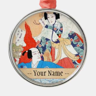 Thirty-six Kabuki Actors Portraits - Two Dancers Metal Ornament