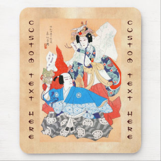 Thirty-six Kabuki Actors Portraits - Two Dancers Mouse Pad